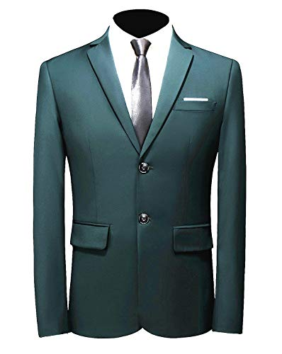 MOGU Mens Suit Jacket Slim Fit Single Breasted Two Button 10 Colors US 44 Asian 6XL Dark Green