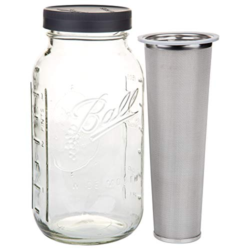 Ball Mason Jars 64 oz Cold Brew Mason Jar with Stainless Steel Filter and Wide Mouth Storage Lid, DIY Home and Work Brewing Equipment for Single Cup or Concentrated Infusion