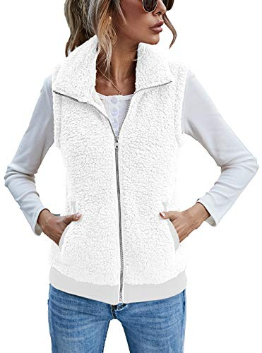 Women's Fleece Vest, Polar Soft Sleeveless Classic Fit Zip Up Vest with Pockets White XL