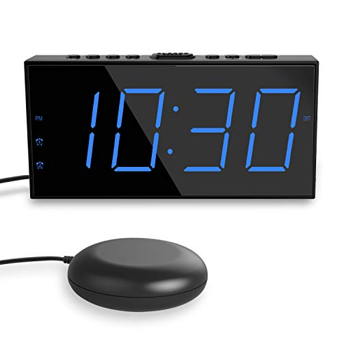ROCAM Extra Loud Alarm Clock for Heavy Sleeper, Strong Bed Shaker Alarm Clock for Bedrooms, Battery Backup, Large LED Display, Snooze, Deaf Deep Hard of Hearing (Blue Number Bed Shaker Clock)