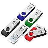 mosDART 5 X 32GB USB 2.0 Flash Drive Swivel Bulk Thumb Drives Jump Drive Zip Drive Memory Sticks with Led Indicator,Black/Blue/Red/White/Green(32GB,5pack Mix Color)