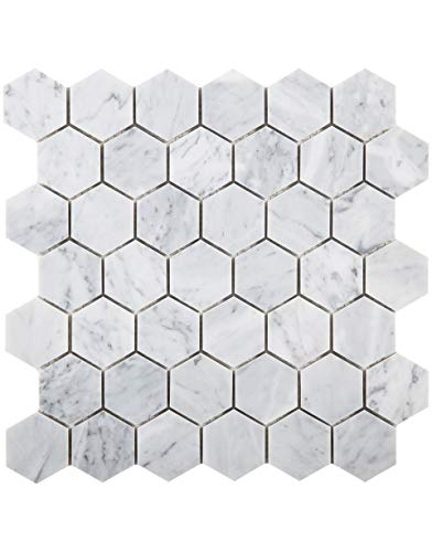 Diflart Carrara Italian White Carrera 2 Inch Marble Hexagon Mosaic Tile Polished Bathroom Kitchen Backsplash Floor Tile Pack of 5 (Hexagon 2')