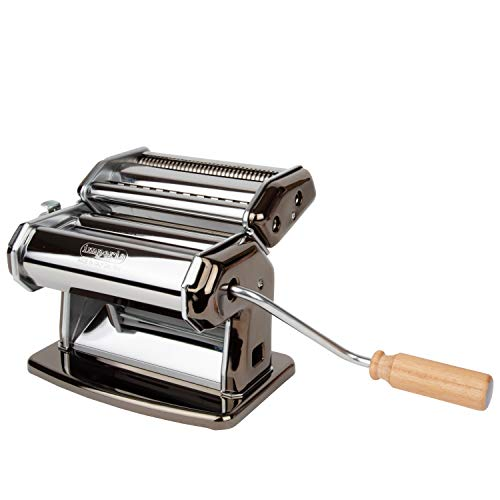 Imperia Pasta Maker Machine, Black - Heavy Duty Steel Construction with Easy Lock Dial & Wood Grip Handle for Italian Cooking