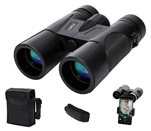 12×42 Binocularsfor Adults with Light Night Vision, Lightweight Binocularsfor Bird Watching, New Smartphone Adapter and Professional BAK4 FMC Lens, Hunting Traveling Sightseeing Sporting