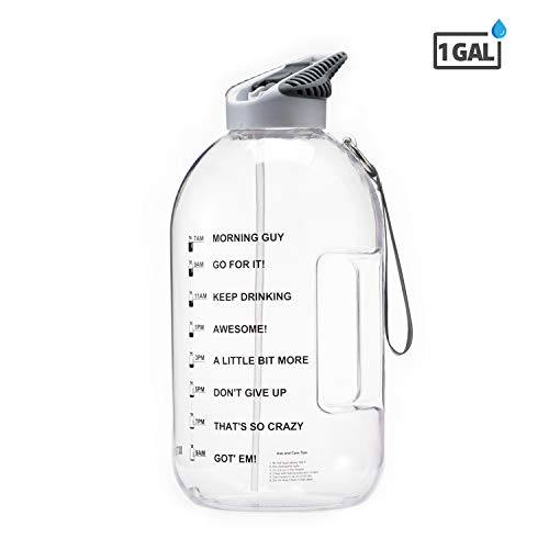 BOTTLED JOY 1 Gallon Water Bottle with Straw Lid, BPA Free Large Water Bottle Hydration with Motivational Time Mark Leak-Proof Drinking Big Water Jug for Camping Sports Workouts and Outdoor Activity