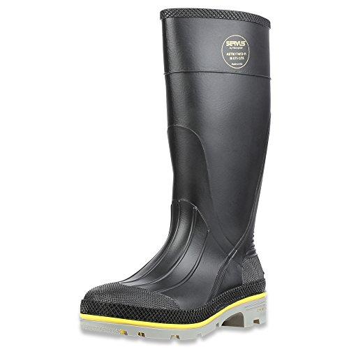 Servus XTP 15' PVC Chemical-Resistant Steel Toe Men's Work Boots, Black, Yellow & Gray
