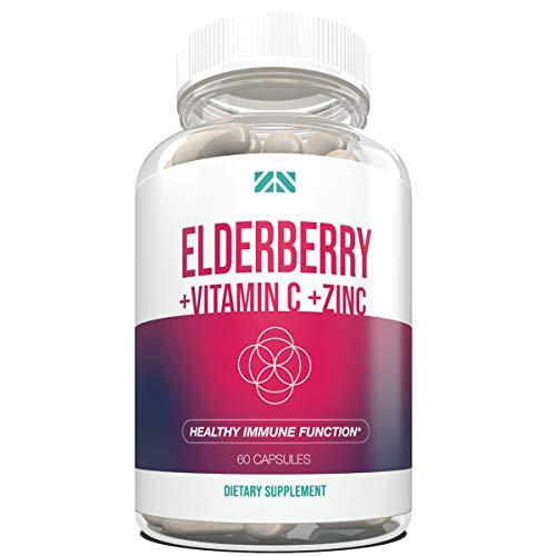 Elderberry+Vitamin C+Zinc - Supports Healthy Immune Function - Echinacea & Probiotics Supplement for Defense, Repair & Vitality - Sambucus Black Elderberry Pills for Adults - 60 Capsules