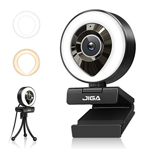Streaming Webcam with Dual Microphone 1080P Adjustable Right Light Pro Web Camera Advanced Auto-Focus with Tripod JIGA Zoom Camera Gaming Webcam for Xbox Facebook YouTube Streamer Conferencing