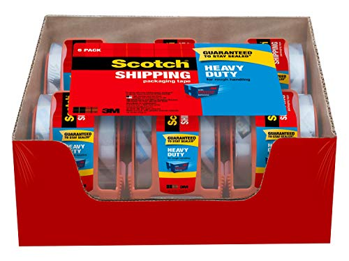 Scotch Heavy Duty Shipping Packaging Tape, 6 Rolls with Dispenser, 1.88' x 22.2 Yards, 1.5' Core, Great for Packing, Shipping & Moving, Clear (142-6)