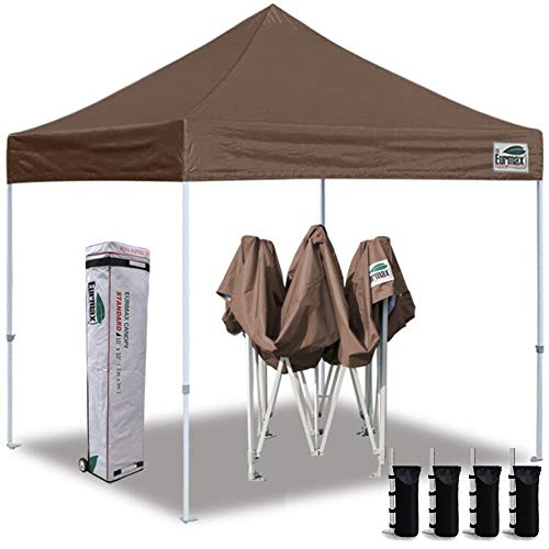 Eurmax 10'x10' Ez Pop Up Canopy Tent Commercial Instant Canopies with Heavy Duty Roller Bag,Bonus 4 Sand Weights Bags (Cocoa)