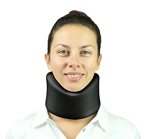 Vive Neck Brace - Foam Cervical Collar - Vertebrae Whiplash Wrap Aligns and Stabilizes Spine - Adjustable Spinal Support Can Be Used While Sleeping and Relieves Pain, Pressure (Black)