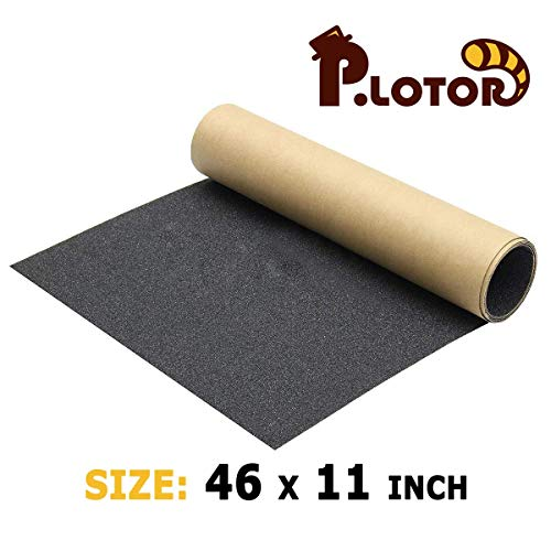 P.LOTOR 46' x 11' Skateboard Grip Tape, Bubble Free Waterproof Black Anti Slip Griptape for Gun, Scooter, Longboard, Stairs, Non Slip Grips, Anti Skid Adhesive Tape (117x28cm) (1 Sheet)
