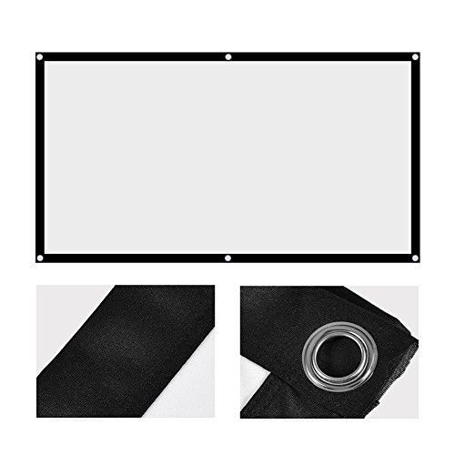 Zopsc 60-120 Inch Foldable Projection Curtain Non-Crease 16:9 White Cinema Projector Screen Portable, for Outdoor Camping Movie, Open-air Cinema, etc(60in)