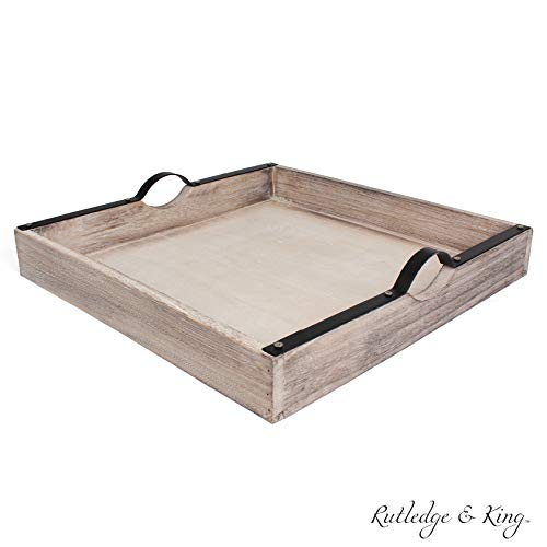 Rutledge & King Beaufort Serving Tray - Ottoman Tray / Decorative Tray - Coffee Table Tray / Square Wooden Tray - Breakfast in Bed Tray with Handles - Rustic Wood Tray
