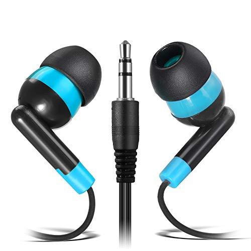 Wholesale Earphones Bulk Earbuds Headphones - Keewonda 100 Pack Ear Buds Classroom Bundle Packs Headphones Disposable Student Earbuds for Kids School Library (Black/Blue)