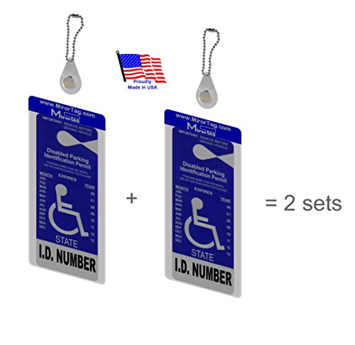 2 MirorTag Charm by JL Safety - A Novel Way to Protect, Display & Put Away a Handicapped Parking Placard. Magnetically snap the holder On & Off to a Magnet Charm mounted behind rear view mirror. Fits ALL rearview mirror sizes. 2 Holders and 2 Magnet Charms included. Patent Pending & Made in USA
