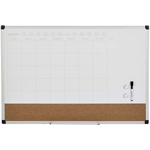 AmazonBasics Dry Erase and Cork Calendar Planner Board, 24' x 36'