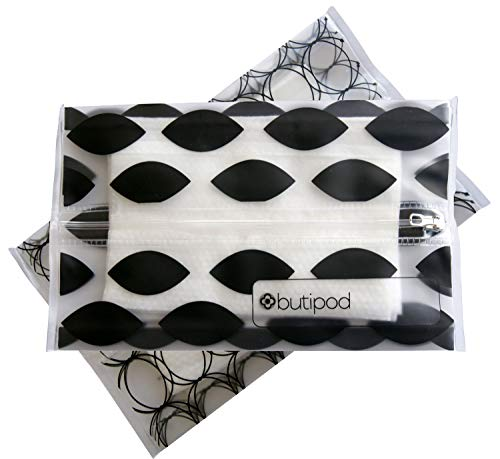 Butipods Reusable Wet Wipe Pouch Slim Case Travel Clutch Holder | Refillable Portable Baby Wipes Dispenser Container | Wipes Stay Moist | Great for Hand and Face Wipes, Set of 2 (Black Ovals & Rings)