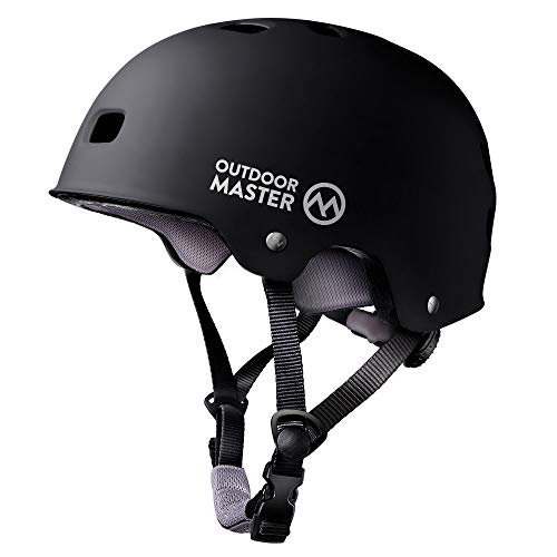 OutdoorMaster Skateboard Cycling Helmet - ASTM & CPSC Certified Two Removable Liners Ventilation Multi-sport Scooter Roller Skate Inline Skating Rollerblading for Kids, Youth & Adults - L - Black