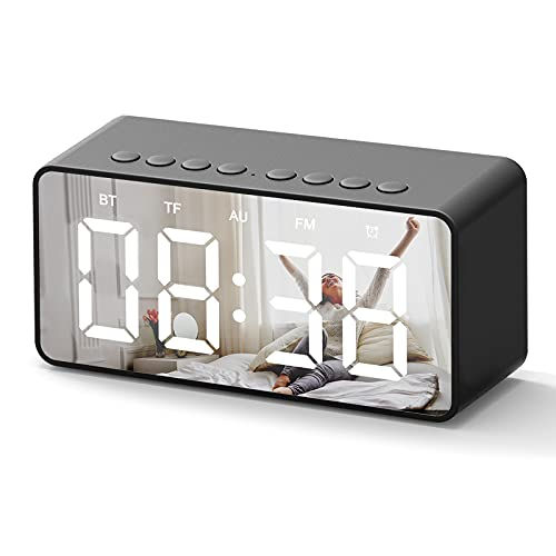 Digital Alarm Clock,Wireless Bluetooth Speakers with Large Number LED Display,USB Charger,24Hr,Mirror,Brightness Dimmer,FM Radio,Portable Bedside Desk Clocks Radio for Heavy Sleepers,kids,Bedroom,Home