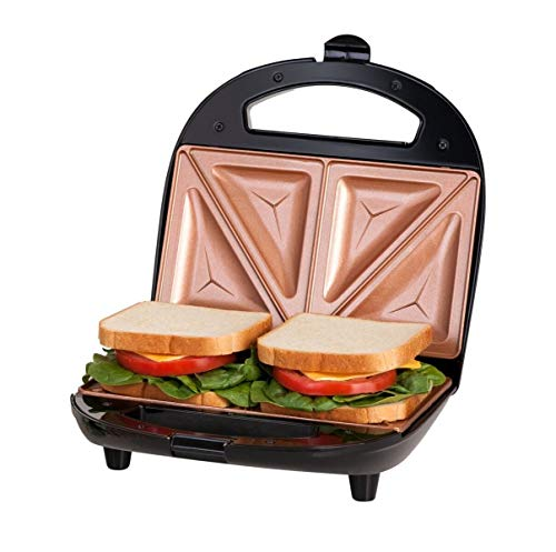 GOTHAM STEEL Maker, Toaster and Electric Panini Grill with Ultra Nonstick Copper Surface Makes Sandwich in Minutes with Virtually No Clean Up, Double