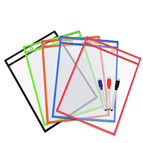 VNOM Heavy Duty Dry Erase Ticket Holder Pockets Reusable Paper Sleeves Sheet Protectors for Classroom Home Office,3 Dry Erase Markers Included,10x13 Inch,Pack of 5
