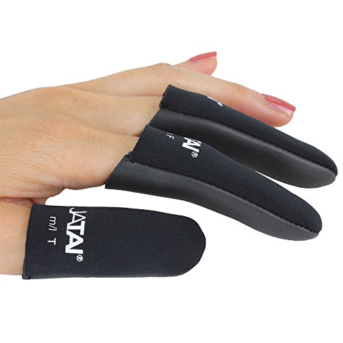 JATAI Heat Shield - Professional High Heat Resistant Finger Protection Guards for Curling and Flat Irons, Wands, Blow Dryers - 3pc (Thumb & 2 Fingers) (M/L - thumb wider than 3/4' (2cm), Black)
