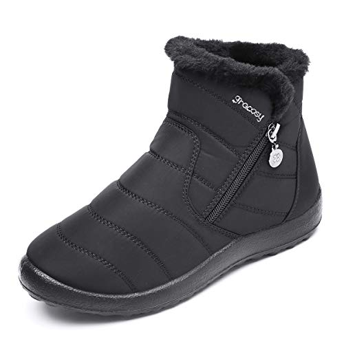 gracosy Warm Snow Boots Outdoor for Women Winter Fur Lining Shoes Anti-Slip Lightweight Ankle Bootie Waterproof Slip on Sneakers Black 9 M US