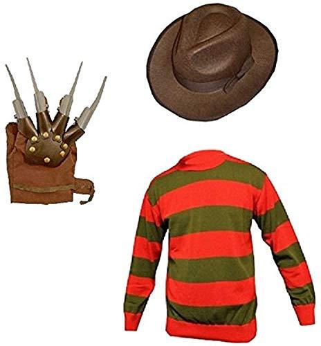 GirlzWalk Unisex Kids Boys Freddy Halloween Fancy Dress Hat Jumper & Glove Set (Jumper, Hat & Glove, 5-6 Years Old)