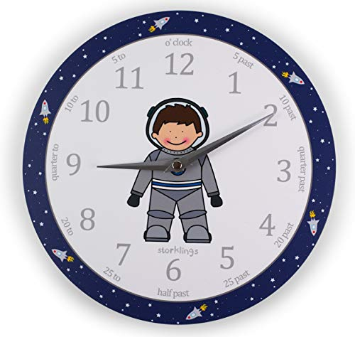 Storklings Astronaut Bedroom Wall Clock Teach The Time
