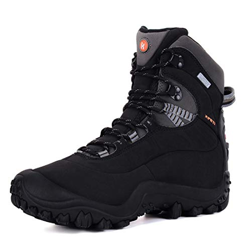 XPETI Women's Thermator Mid High-Top Waterproof Hiking Boot Hunting Outdoor Insulated Boot Black 8 Mountaineering Trail Shoes
