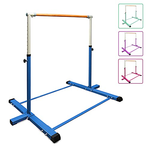 BYBAG Expandable Gymnastics Kip Bar,Horizontal Bar for Kids for Girls,No Wobble Gymnastic Equipment for Home Training,3' to 5' Adjustable Height,Gymnasts 1-4 Levels,260 lbs Weight Capacity