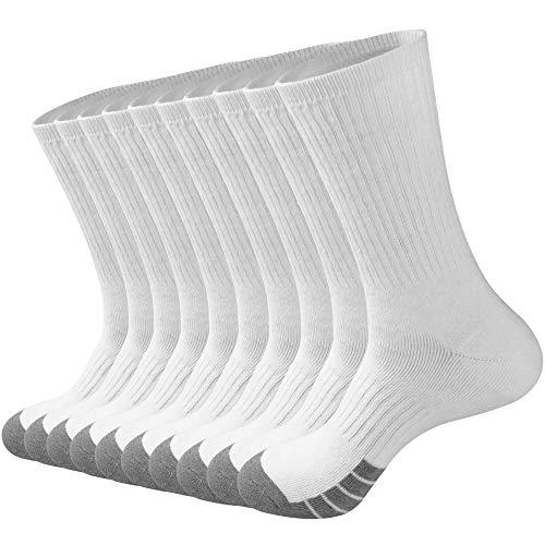 GKX Men's 10 Pairs Cotton Moisture Control Heavy Duty Work Boot Cushion Crew Socks(White 10P)