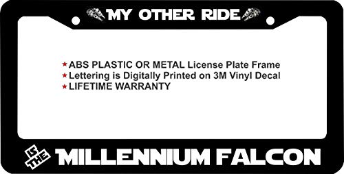 LOHIGHH Star Wars My Other Ride is The Millennium Falcon Custom License Plate Frame Black Metal 12' X 6'