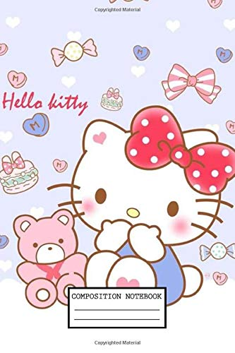 Composition Notebook: Hello Kitty Cute Wide Ruled Blank Lined Themed Journal Paper 7.44 x 9.69 Inches 110 Pages