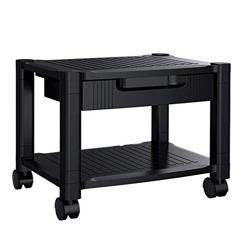 Printer Stand - Under Desk Printer Stand with Cable Management & Storage Drawers, Height Adjustable Printer Desk with 4 Wheels & Lock Mechanism for Mini 3D Printer by HUANUO