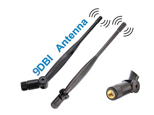 2X WiFi Antenna 9dbi 2.4ghz 5ghz 5.8ghz Dual Band rp SMA Universal Connector for Router, pc Desktop, USB Adapter, pcie Cards, IP Camera, Drone and ps4 Build, Wireless Range Extender