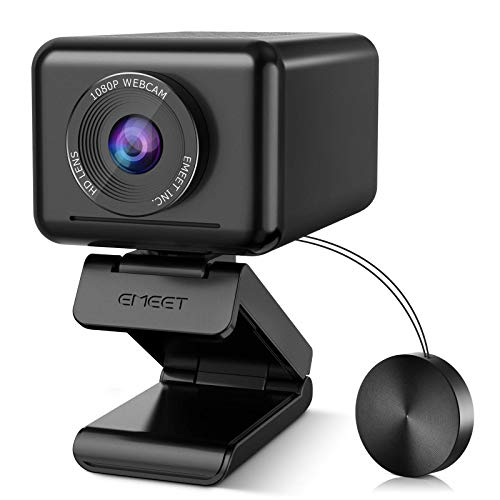 Conference Room Camera System, AI Tracking&Zoom, 1 Speaker&4 Mics All-in-1 eMeet Jupiter 1080P Webcam, Adjustable View Web Camera w/Software, Plug&Play Computer Camera w/Privacy Cover for Zoom/Skype