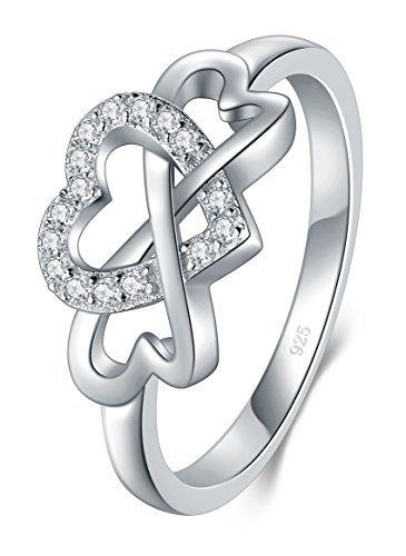BORUO 925 Sterling Silver Ring, High Polish Cubic Zirconia Infinity and Heart Tarnish Resistant Comfort Fit Ring Size 5
