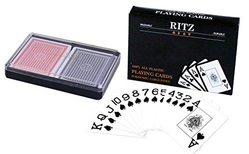 Ritz 2-Decks Poker Size 100% Plastic Playing Cards Set in Plastic Case, Large (Jumbo) Index