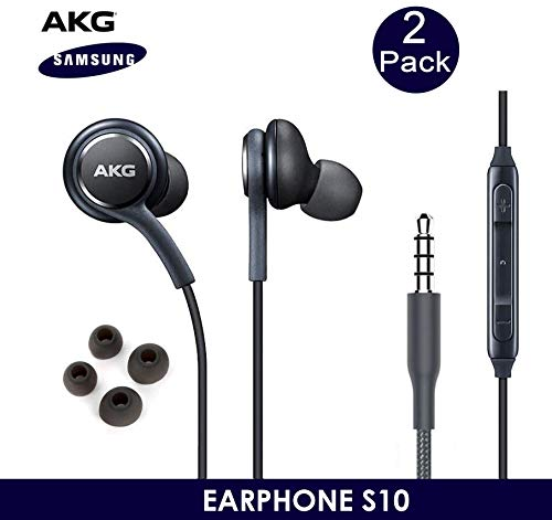 OEM ElloGear Earbuds Stereo Headphones for Samsung Galaxy S10 S10e Plus Cable 3.5mm Jack - Designed by AKG - with Microphone and Volume Buttons (Grey) - 2 Pack