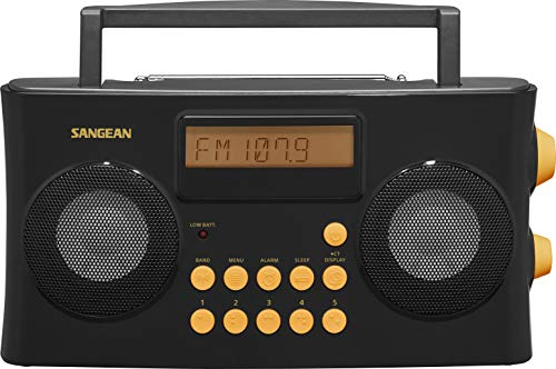 Sangean PR-D17 AM/FM-RDS Portable Radio Specially Designed for The Visually Impaired with Helpful Guided Voice Prompts, Black, 10 Station Presets (5 AM, 5 FM), Stereo/Mono Switch, Alarm Timer