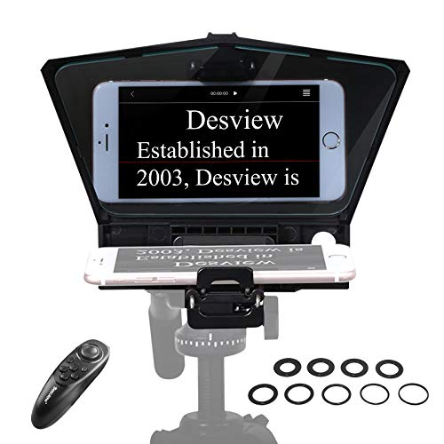 【Desview Authorized】 Desview T2 Phone Teleprompter, Portable Teleprompters Kit Lightweight 340g/12oz with Beam Splitter 70/30 Glass & Remote Control for Phone Camera, Desview-T2-Phone-Teleprompter