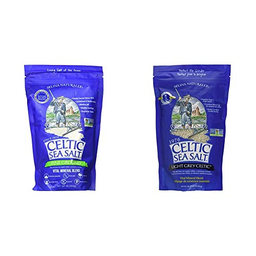 Fine Ground Celtic Sea Salt – (1) 16 Ounce Resealable Bag of Nutritious, Classic Sea Salt & Light Grey 1 Pound Resealable Bag – Additive-Free, Delicious Sea Salt, Perfect for Cooking, Baking and More
