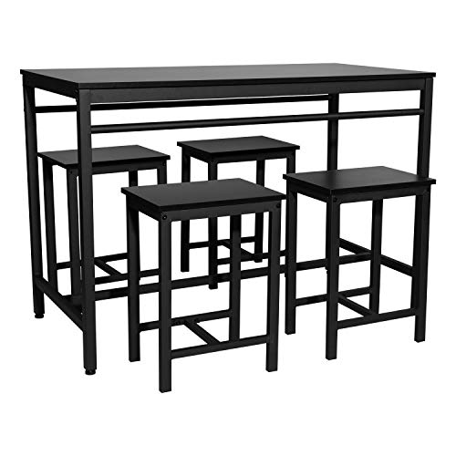 Henf Pub Table Set 5 Piece Bar Table and Chairs, Contemporary Dining Table Set, High Bar Table and Chair Set for Home Kitchen Breakfast Dining, Black