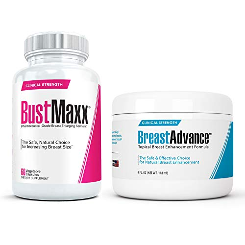 BustMaxx (60 Caps) Bundled with Breast Advance (4 oz.) - Most Effective Natural Breast Growth and Enhancement Combination for Bigger, Larger, Fuller Breasts   Enlargement Supplement & Topical Cream