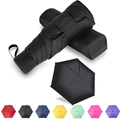 GAOYAING Compact Travel Umbrella with Case Sun&Rain Lightweight Small and Compact Suit for Pocket Black