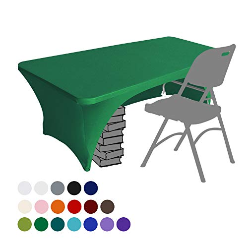 Eurmax Spandex Table Cover 6 ft. Fitted 30+ Colors Polyester Tablecloth Stretch Spandex Table Cover-Table Toppers,6 FT Table Cover Open Back(6Ft,Emerald Green)
