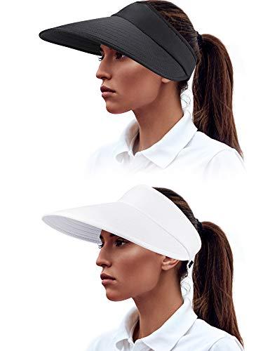 2 PiecesWomen Sun Visor Hats Wide Brim Visor Hats Adjustable Summer Visor Caps UV Protection Beach Caps for Women Wearing Favors (Color Set 1)