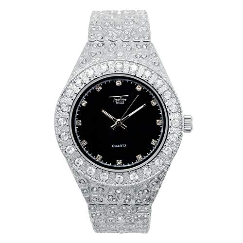 Mens 44mm Silver Hip Hop Iced Out Diamond Link Watch with Cubic Zirconia Crystals and Blinged Out Nugget Band - Quartz Movement - Resizeable Links (Black Dial)